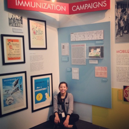 That's me in front of the immunization exhibit at the CDC Museum.